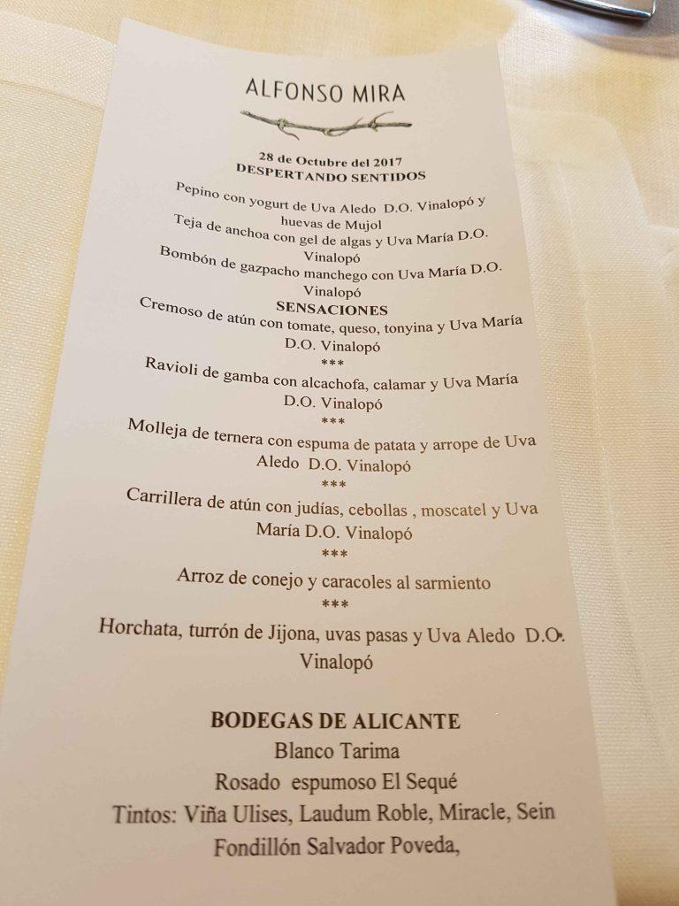 Menu Uvas Vinalopo en Restaurante Alfonso Mira Aspe