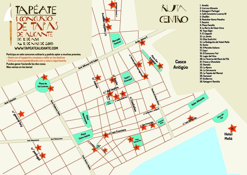 Mapa Ruta de Tapas Alicante 2013 Centro