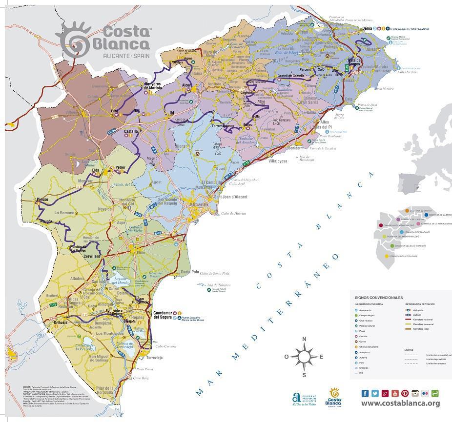 Mapa Alicante Ruta Costa Blanca Interior
