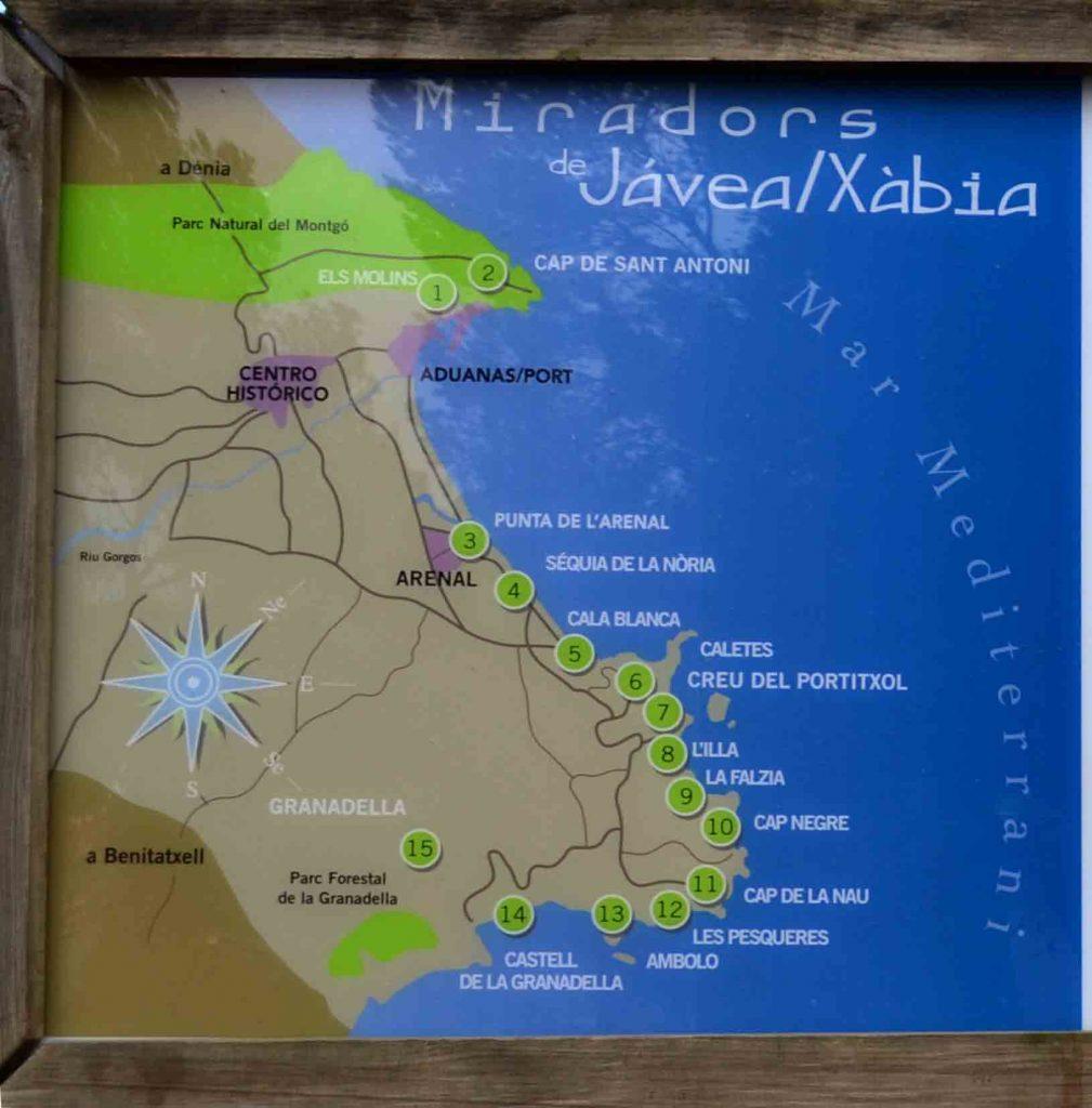 Mapa Miradores de Jávea- Xabia