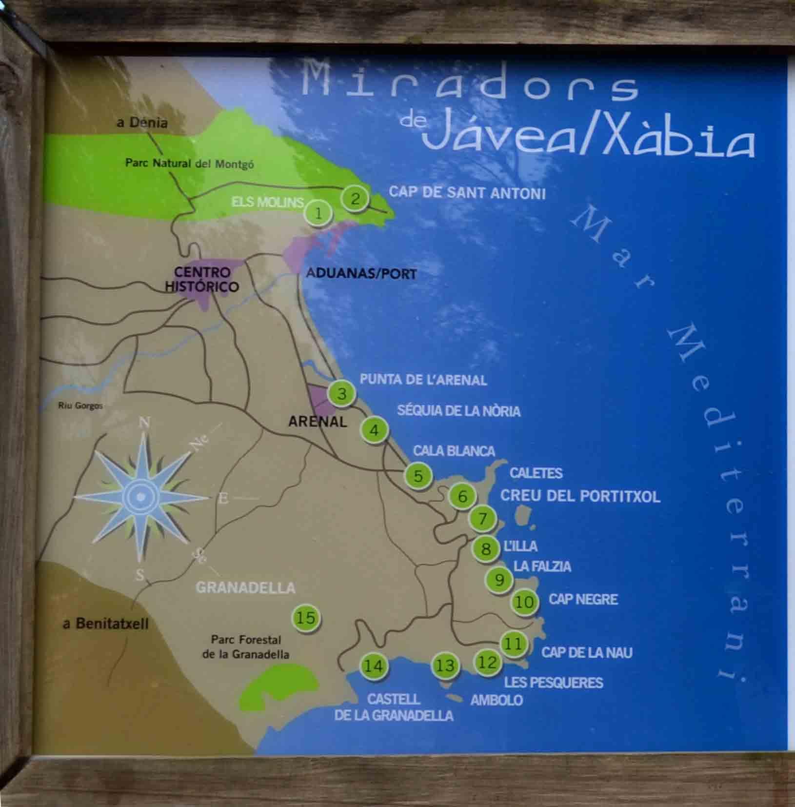 Mapa Miradores De Javea Xabia Descubriendo Alicantedescubriendo